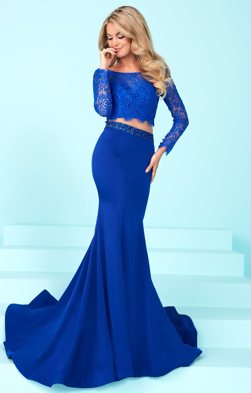 Tiffany Designs 16247 - Long Sleeve Lace 2 Piece Dress Prom Dress