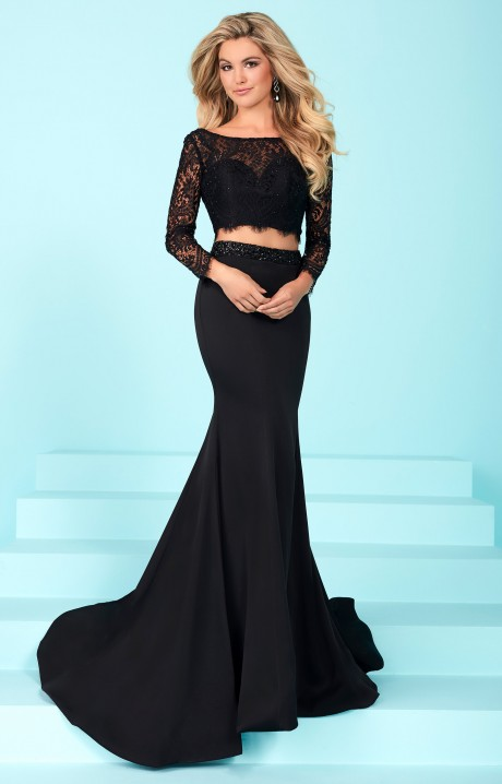 Tiffany Designs 16247 - Long Sleeve Lace 2 Piece Dress