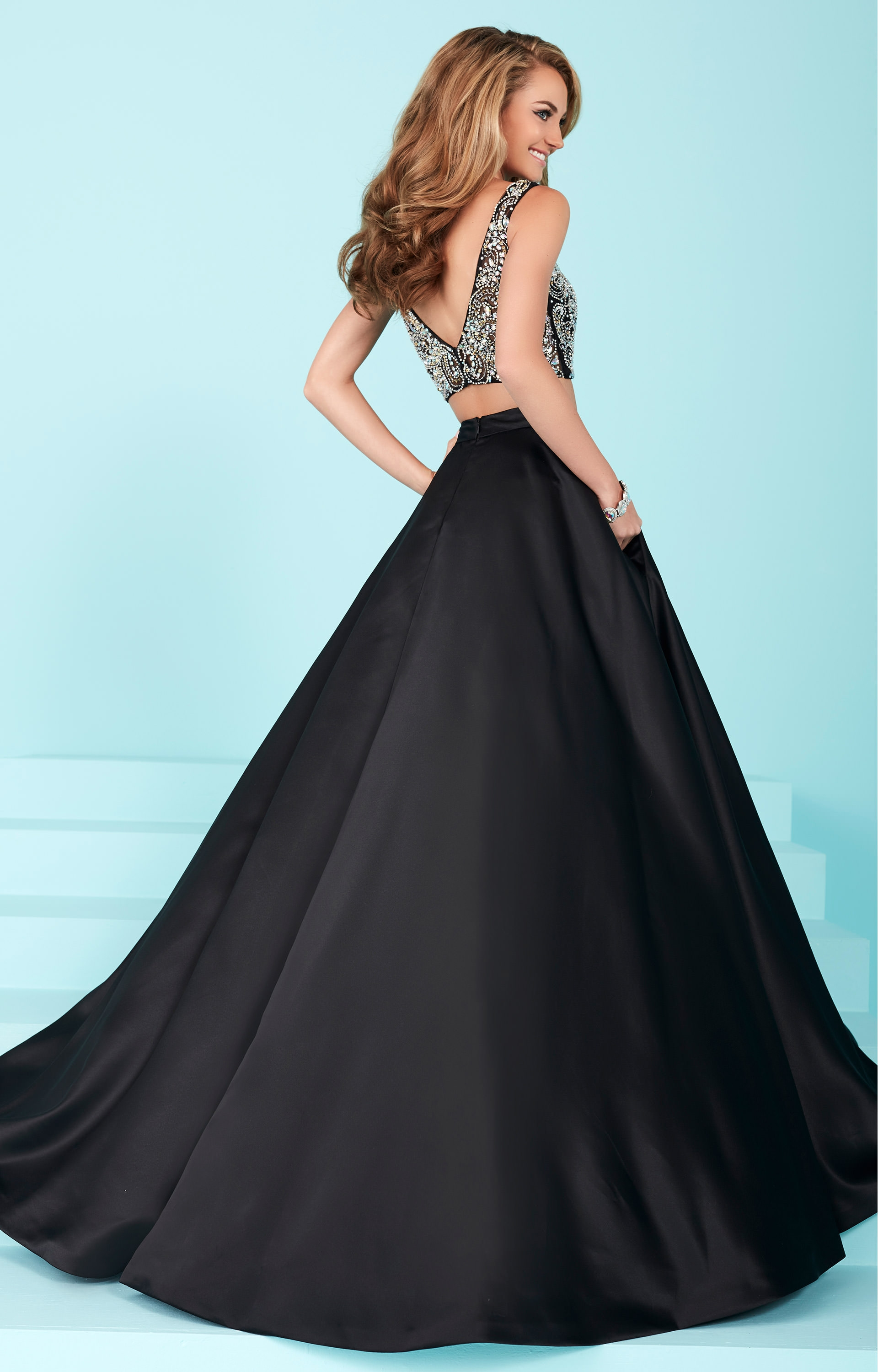 Tiffany Designs 16258 - Silky Beaded Two Piece Dress Prom Dress