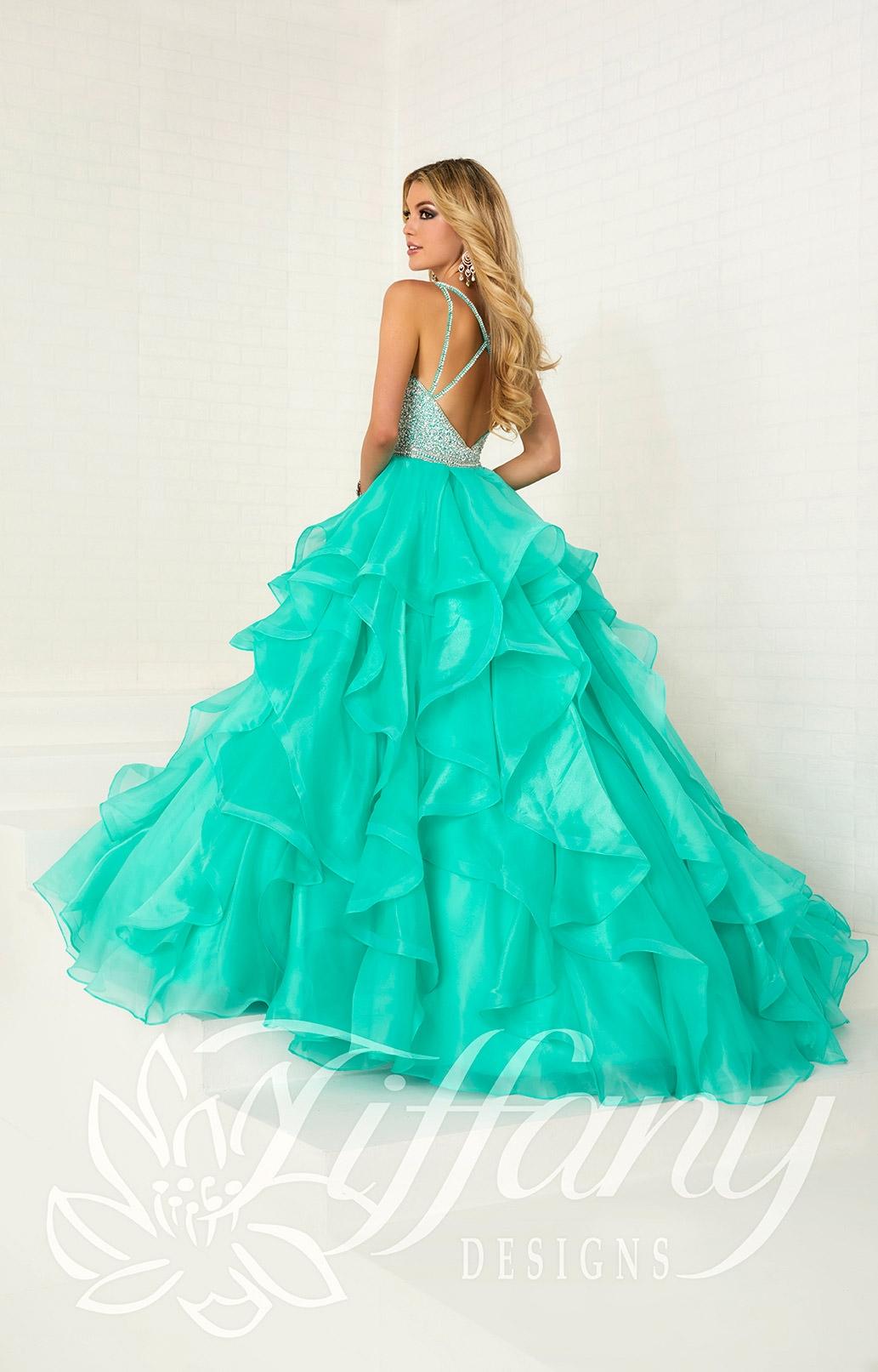Tiffany Designs 16300 - Long Organza Ball Gown Prom Dress