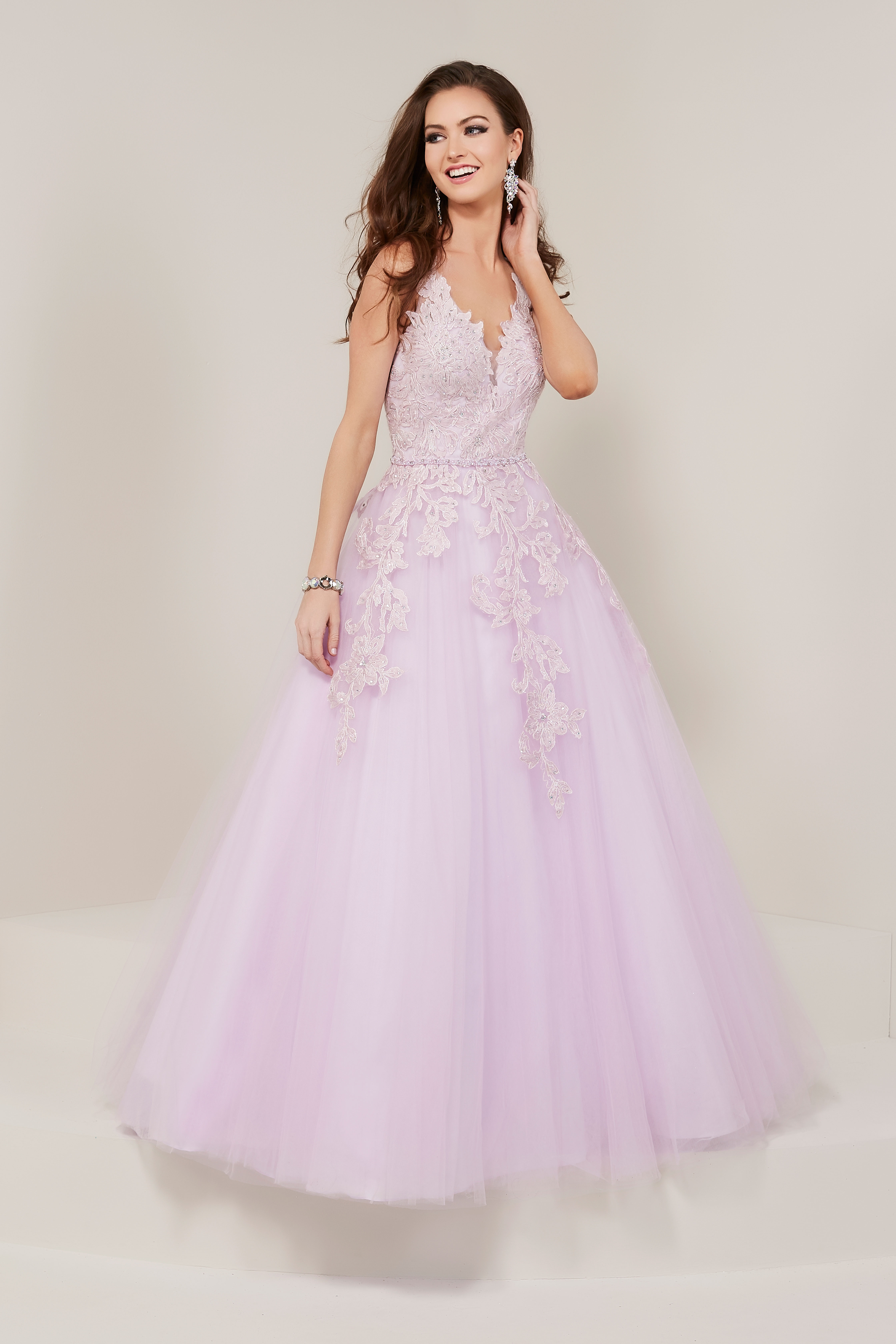 34a470c599cb Long Prom Dress With Open Back Lace Applique Bodice - PostParc