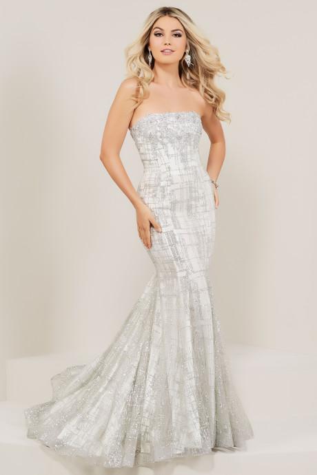 Tiffany Blue Color Code >> Tiffany Designs 16339 - Straight Across Strapless Glitter Mermaid Dress