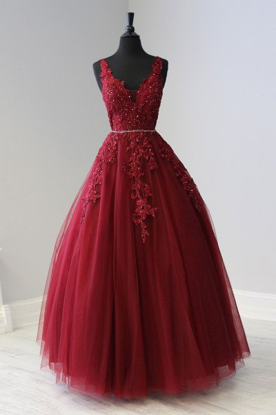 66b80065c775 Red Prom Dresses | Burgundy, Maroon, and Wine Formal Gowns