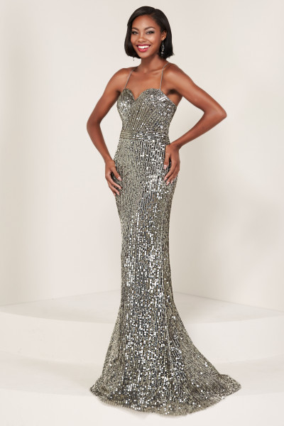 734d5146bc4c9 Shimmering V-Neckline Open Back Long Sequin Dress $259.00. Tiffany Designs  16365