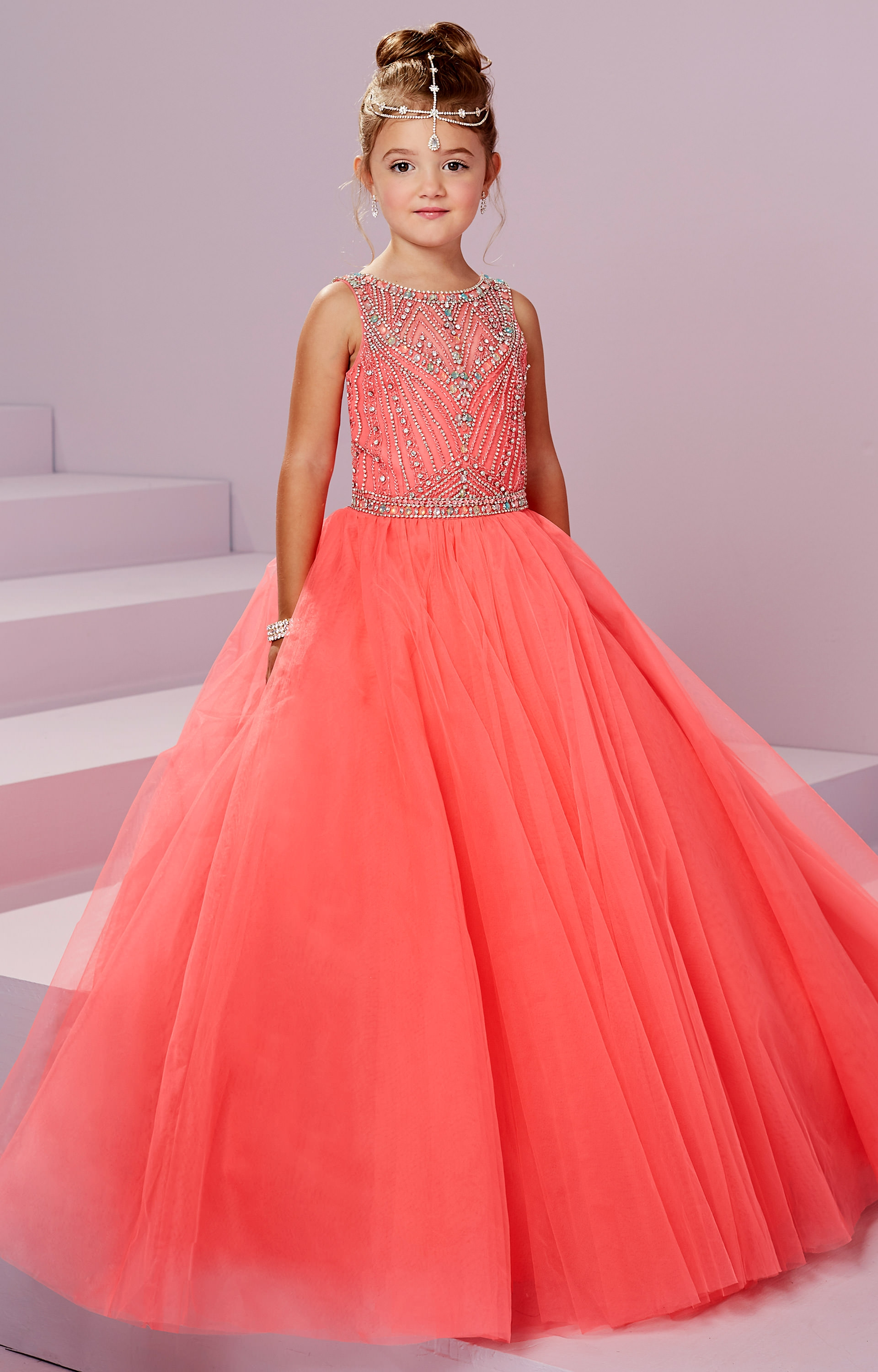 Tiffany Princess 13489 Beaded Halter Tulle Ball Gown