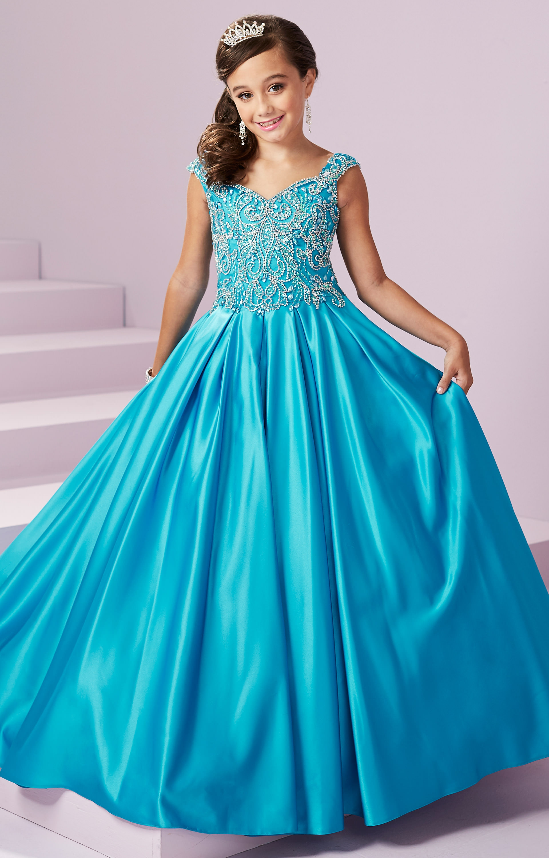 Tiffany Princess 13490 Corset Back Satin Ball Gown With