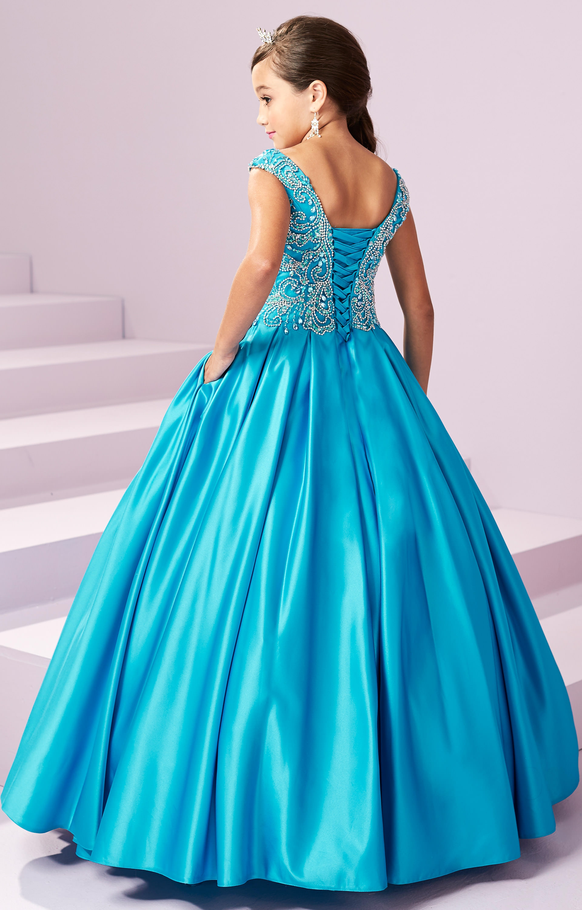Tiffany Princess 13490 - Corset Back Satin Ball Gown with a ...